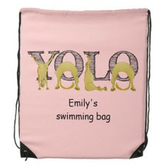 YOLO flexi pony Cinch Bags  You only live once, YOLO. Written by bendy cartoon ponies contorting themselves into the shapes of the letter.   Created By Ponyalphabet