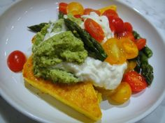 Cook the Book: Polenta Steaks with Asparagus Pesto, Cherry Tomatoes, and Burrata