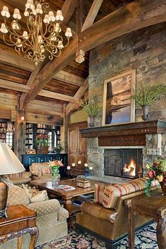 Rustic Living Room -Locati Home - Interior Design - Old River Farm Home Design, Home Interior Design, Design Ideas, Log Cabin Homes, Log Cabins, Timber Frame Homes, Home Living, Living Area, Living Rooms