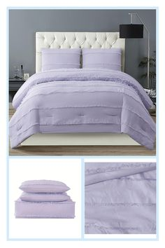 Christian Siriano Ny Kristen 3-Piece King Comforter Set In Lavender - Christian Siriano Kristen brings a wink of color and texture into your bedroom with the Kristen eyelash clipped jacquard bedding. The solid color face is interrupted by a fun fringe woven into the cloth. #BakingSodaBeautyUses Twin Xl Comforter, Queen Comforter Sets, Queen Duvet, Duvet Sets, Baking Soda For Dandruff, Baking Soda Shampoo, Baking Soda Drain Cleaner, Baking Soda Beauty Uses, Baking Soda Health