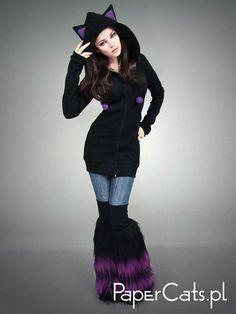 Long cat hoodie black violet ears kawaii by PaperCatsPL on Etsy