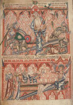 Христос Воскресший. Явление Ангела женам-мироносицам.; Англия; XIV в.; памятник: Библия (Bible ('Holkham Bible Picture Book'). 1327-1335гг