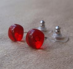 Red stud earrings fused art glass on sterling by admiralglass, $15.00