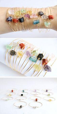 Raw crystal bracelet Stone bracelet Quartz by VermeerJewellery