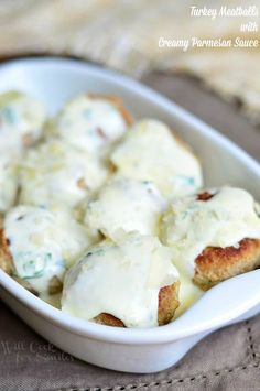 Turkey Meatballs with Creamy Parmesan Sauce | from willcookforsmiles.com