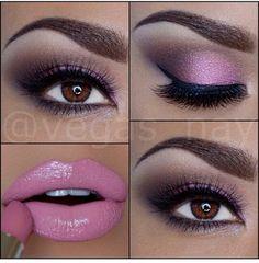 Not a fan of lip color, but love they eye make-up Cute Makeup, Gorgeous Makeup, Pretty Makeup, Lip Makeup, Peach Makeup, Purple Makeup, Sexy Makeup, Beautiful Lips, Lila Palette