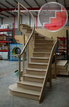 Elegant railing and curved bottom steps.