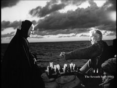 The Seventh Seal, 1957, Ingmar Bergman. With Max von Sydow as the mediaeval knight who plays a game of chess with Death. Also with Gunnar Bjornstrand.