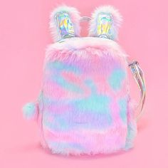 This softy and fuzzy unicorn mini backpack brings the cozy vibes full force! Girly Backpacks, Cute Mini Backpacks, Unicorn Fashion, Kawaii Accessories, Cute School Supplies, Girls Bags, Cute Bags, School Bags, Backpack Bags