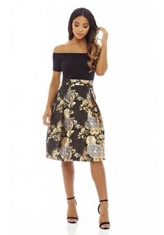 b0ed3f949b63 Choose this stunning off shoulder 2 in 1 midi skater dress from AX Paris