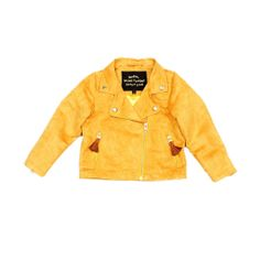 $155 Perfect for any cool kid: an incredibly stylish, yellow, faux leather biker jacket. With a clean fit and details such as golden press buttons and striped satin polyester lining, parents are wishing it came in grown-up sizes.  #minirodini #fauxleather #kidstyle #canada
