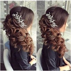 22 Perfectly Gorgeous Down Hairstyles for Prom - Style My Hairs Curly Wedding Hair, Long Hair Wedding Styles, Elegant Wedding Hair, Wedding Hairstyles For Long Hair, Wedding Hair And Makeup, Bridal Hair, Wedding Hair Side, Wedding Updo, Diy Wedding