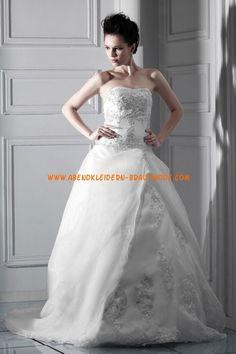 A-linie Schöne Glamouröse Brautkleider aus Organza mit Stickerei
