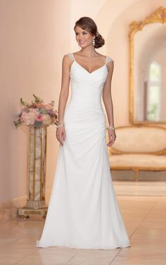 Elegant Wedding Dress with Shoulder Straps | #brides #weddings #gowns #bridal #weddinggown #weddingdresses #brides #bridetobe | You can have this bridal gown made in any size or with ANY changes | We also specialize in custom wedding dresses as well as inexpensive replications of couture bridal gowns for the bride on a budget | Our company is located in the US but we can assist you no matter where you live. Please email us for pricing and more details. | www.dariuscordell.com