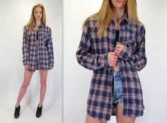 Vintage 90s Grunge Dark Blue Red Cream Oversized Long Sleeve Button Down Front Up Lumberjack Soft Flannel Shirt Hipster 80s Small Medium by BlueFridayVintage