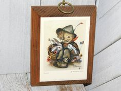 Vintage Hummel Boy Picture with bunnies Small Picture | Etsy Boy Pictures, Vintage Pictures, Red Cabinets, Couple Items, Vintage Clown, Stuffed Animal Cat, Vintage Kitchen Decor, Last Minute Gifts, Bunnies