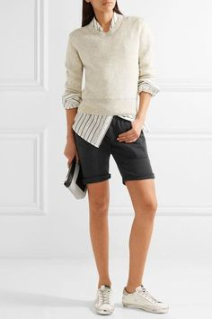 James Perse - Stretch Cotton And Modal-blend Twill Shorts - Charcoal - 1