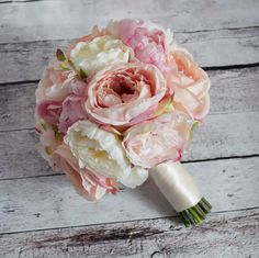 Ivory and Blush Pink Peony and Garden Rose Wedding Bouquet by Kate Said Yes Weddings - Silk Wedding Bouquet