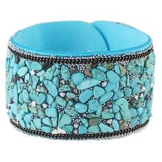 Faux Leather Gravel Wide Bracelet (€4,30) ❤ liked on Polyvore featuring jewelry, bracelets, wide bangle and vegan jewelry