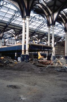 Liverpool St Rebuild viewed from area of proposed new concourse with Gate line crash deck in place Friday 16th March 1990 by Colin.P.Brooks Railway Photography & Frinton, via Flickr