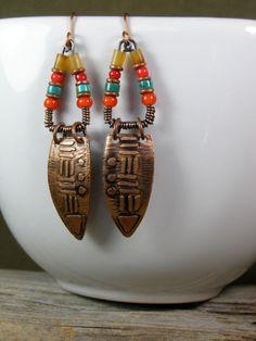 Tribal Beaded Earrings Etched Copper Earrings by StoneWearDesigns Copper Earrings, Turquoise Earrings, Copper Jewelry, Women's Earrings, Beaded Jewelry, Metal Jewelry Handmade, Mixed Metal Jewelry, Artisan Jewelry, Earrings Handmade