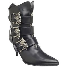 Demonia Women's 'Fury-06' Skull Buckle Ankle Boots