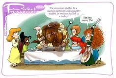 Pocket Princesses 128, Happy Thanksgiving! Cinderella, Tiana, Anna, Ariel and Merida