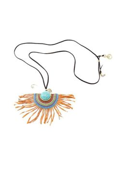 A beautiful bohemian style necklace handmade in Northern Thailand with colored waxed string and brass wire. #offbeatcuts