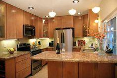 quartz countertops oak cabinets and floors - Google Search