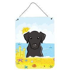 Black Labrador Summer Beach Wall or Door Hanging Prints, Size: 16, Multi-color