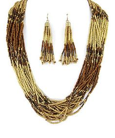 Love this Gold & Brown Bead Multistrand Necklace & Drop Earrings by MOA International Corp on #zulily! #zulilyfinds