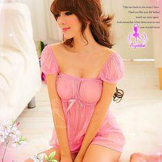 A166 Pink  - 2pc : dress, gstring  Free Size LD 70-86cm, Hips 70-90cm, Bra 32-34     IDR 87.000