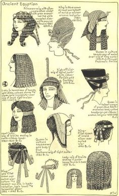 Potentially ancient Egyptian style headwear. Village Hat Shop Gallery :: Chapter 1 - Ancient Egyptian :: Illustrations of the different hat styles of the Ancient Egyptians.