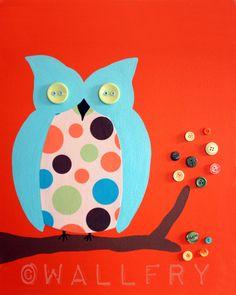Retro Owls nursery art orange. Set of 3 8x10 prints by Wallfry
