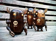 Sweet wooden robot toys