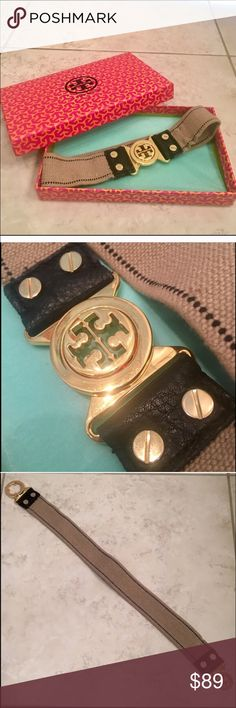 Tory Burch Elastic Logo Belt Tory Burch Elastic Logo Belt. Perfect accessory to add to any waisted dress or shirt. Definitely an XS, does stretch a little. Gold hardware fastener in front. Sold in stores for 175, purchased from another posher for 120! Would like to get as much as possible back since it simply just didn't fit any of us! Tory Burch Accessories Belts