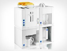 Got a tiny kitchen? Compact4All has a space-efficient toaster, juicer, kettle and a coffee maker.