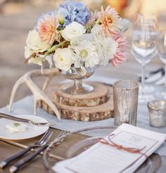 Blush with blue wedding reception tablescape