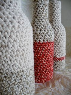 little glass bottles recycled with crochet