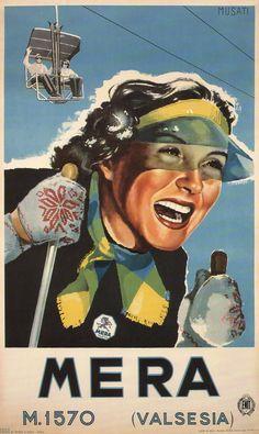 Mera/Valsesia vintage ski poster by Arnaldo Musati, Italian, 1951
