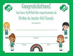 Brownie Bridge to Junior Award Certificate
