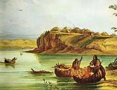 Mandan Bull Boats and Lodges- George Catlin - Painting of North American coracles (bull boats), c.a. 1832