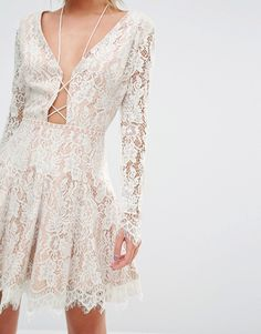 Image 3 of Stylestalker Long Sleeve Allover Lace Mini Dress