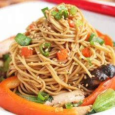 Stir-fry Noodles With Chicken, Shitake Mushrooms And Chinese Vegetables Recipe