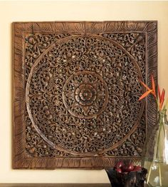 Balinese Wood Wall Art Decor. Decorative Carved Wall Hanging. Traditional Lotus Flower. Asian Home Decor. (3'x3' ft. Light brown)