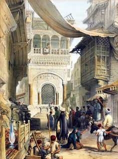 Streets of Cairo  BY Owen Browne Carter -  ( British , 1806 – 1859 )  Lithograph