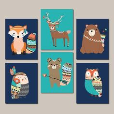 WOODLAND Nursery WALL ART, Tribal Nursery Decor, Tribal Woodland Animals Tribal Baby Shower Boy Girl Nursery Decor Set Of 6 Prints Or Canvas