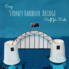 Easy Sydney Harbour Bridge craft for kids made from paper plates and cups. Great… Easy Sydney Harbour Bridge craft for kids made from paper plates and cups. Great idea for learning about Australia and famous Australian icons. Australia For Kids, Australia Crafts, South Australia, Australia Day Craft Preschool, Victoria Australia, Australia Travel, Paper Plate Crafts, Paper Plates, Cup Crafts