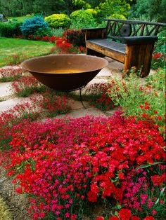 Whether on the balcony, in the garden or on the terrace - garden bench is one of the most popular furniture for your outdoor space. From iron garden bench in a Dream Garden, Garden Art, Beautiful Gardens, Beautiful Flowers, Red Flowers, Colorful Roses, Colorful Garden, Flowers Garden, Simply Beautiful