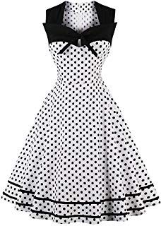 Vintage Dresses White Vintage Dress Polka Dot Print Queen Anne Neck Sleeveless Bows A Line Women Midi Dresses - White Vintage Dress Polka Dot Print Queen Anne Neck Sleeveless Bows A Line Women Midi Dresses Pin Up Dresses, Dress Outfits, Fashion Dresses, Summer Dresses, Midi Dresses, Dress Clothes, Prom Dresses, Dresses Online, 1950s Clothes